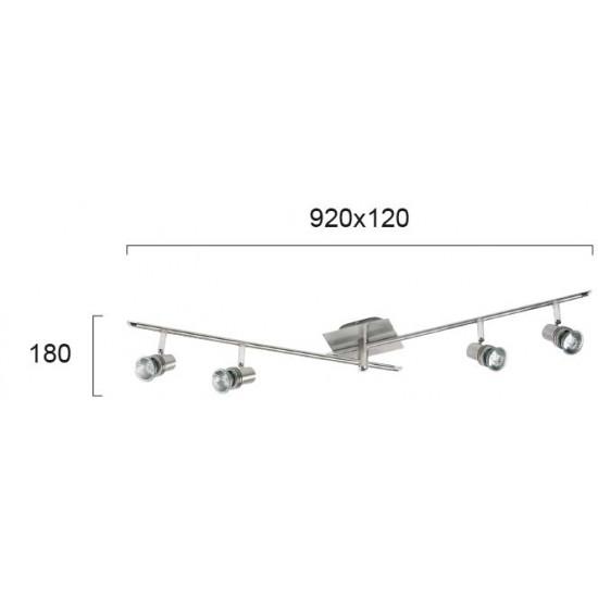 Viokef CHA-CHA 462200 Spot 4φωτη μπάρα nickel mat