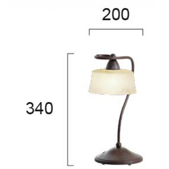 "Viokef SIMONA 467000 Επιτραπέζιο Φωτιστικό από γυαλί ""σκάβο αβόριο"". Ανάρτηση πατίνα καφέ."