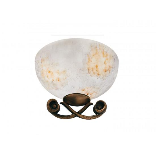 Viokef DUOMO 3095500 Απλίκα με γυαλί σε χειροποίητο decor λευκό με χρυσό. Δέσιμο Οξυντέ.