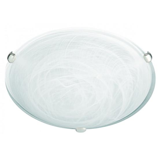 Viokef ELECTRA 3913000 Πλαφονιέρα με γυαλί αλάβαστρο λευκό. Δέσιμο νίκελ ματ.