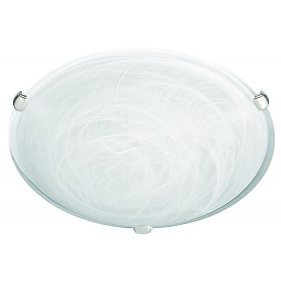 Viokef ELECTRA 3913200 Πλαφονιέρα με γυαλί αλάβαστρο λευκό. Δέσιμο νίκελ ματ.