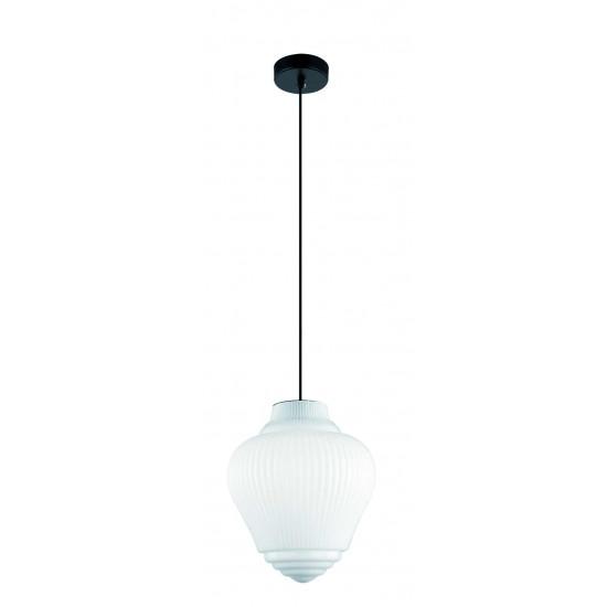 Viokef BOHO 4187800 Κρεμαστό Φωτιστικό με γυαλί οπάλ λευκό γυαλιστερό. Ανάρτηση μαύρη.