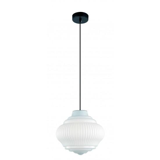 Viokef BOHO 4187900 Κρεμαστό Φωτιστικό με γυαλί οπάλ λευκό γυαλιστερό. Ανάρτηση μαύρη.