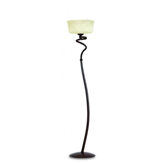"Viokef SIMONA 467300 Φωτιστικό Δαπέδου από γυαλί ""σκάβο αβόριο"". Ανάρτηση πατίνα καφέ."